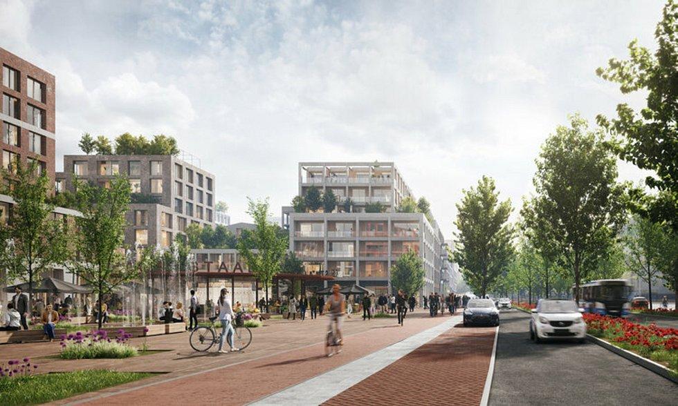 ZUS [Zones Urbaines Sensibles] a Space&Matter navrhli revitalizaci brownfieldu Klaprozenbuurt v Amsterdamu. Vizualizace: Space&Matter