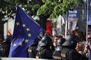 Setkání příznivců i odpůrců Okamurovy SPD v Praze
