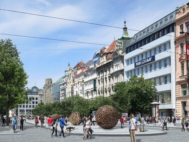 VÁCLAVSKÉ NÁMĚSTÍ je zatím naplánováno bez tramvají. Zatímco příští rok začne úprava dolní části, kdy se začne revitalizovat ta horní, není zatím jasné