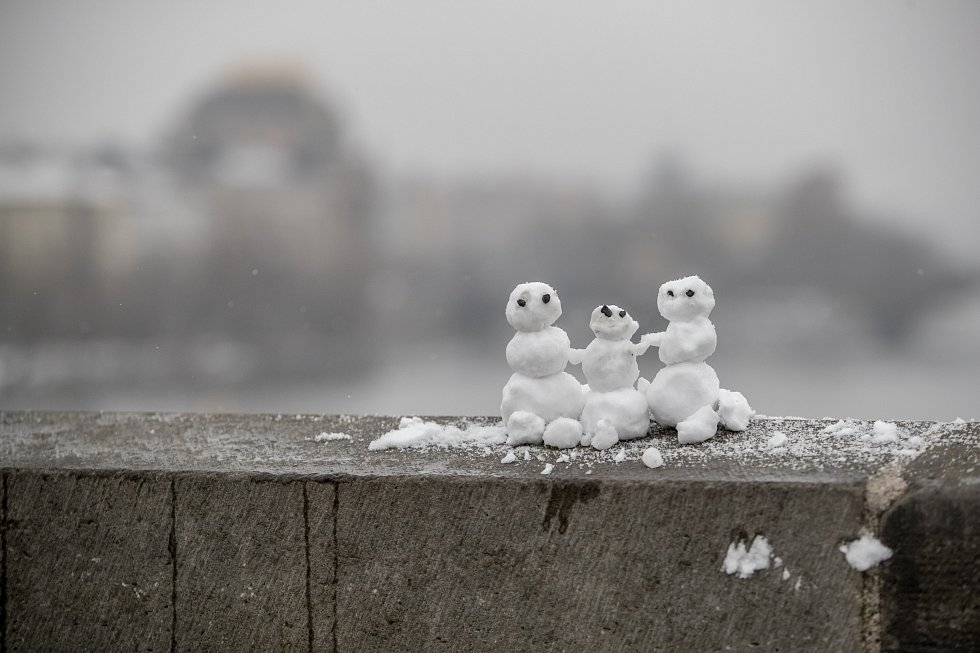 Sněhová nadílka v Praze.