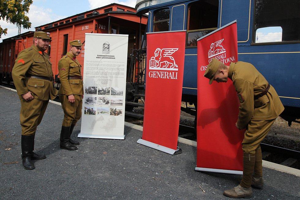Legiovlak - výstava a podpis smlouvy ČsOL s pojišťovnou Generali v železniční stanici Praha-Bubny.