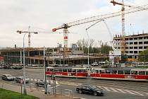Rozestavěné centrum Nová Palmovka v Praze 8.