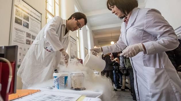 Den otevřených dveří na Fakultě jaderné a fyzikálně inženýrské ČVUT se uskutečnil v úterý 2. února 2016 v Praze. Na snímku zmrzlina dělaná dusíkem.