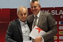 Z tiskové konference SK Slavia Praha. Na snímku Jiří Šimáně a Jaroslav Tvrdík.