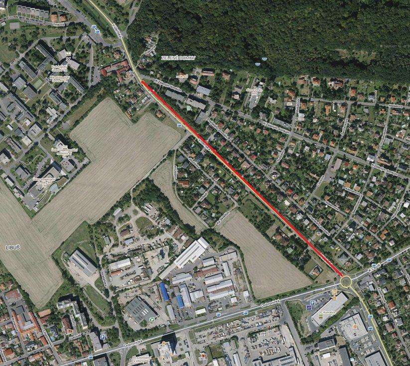 Vídeňská ulice - satelitní mapa opravovaného úseku.