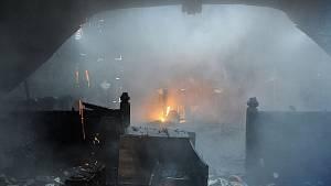 Požár dřevěného kostela v Praze