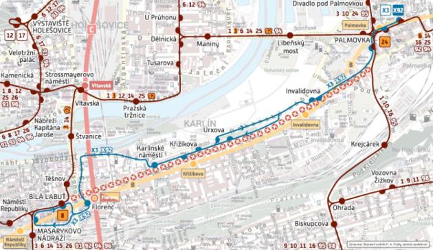Schema dopravy při výluce úseku Florenc - Palmovka.