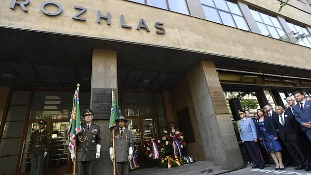Před budovou Českého rozhlasu v Praze se 21. srpna 2019 uskutečnila vzpomínková akce k připomenutí památky obětí vstupu vojsk Varšavské smlouvy na území Československa v roce 1968.