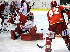 Slavia Praha - Jestřábi Prostějov, 29. kolo WSM ligy, hokej, Dominik Frodl, autor: Michal Sedlák