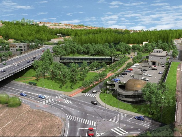 Návrh podoby stanice metra trasy D - Nádraží Krč.