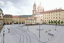 Vítězný projekt na budoucí podobu Malostranského náměstí v Praze. To se má proměnit ve velkou pěší zónu.