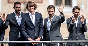 Slavnostní zahájení prvního ročníku tenisového Laver Cupu, které se konalo 20. září na Staroměstském náměstí v Praze. Marin Cilic, Alexander Zverev, Roger Federer, Rafael Nadal