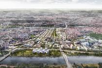 Pohled na možnou podobu nové čtvrti ze severu. Z jihu od stanice Vltavská (a od budoucího koncertního sálu) vede na sever hlavní osa podél parku, která je na severu zakončena třemi vyššími dominantami obklopujícími náměstí u Nádraží Holešovice.