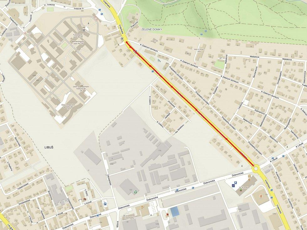 Vídeňská ulice - mapa opravovaného úseku.