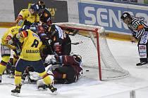 Utkání 37. kola hokejové extraligy: HC Sparta Praha - Madeta Motor České Budějovice, 19. ledna 2021 v Praze. Neuznaný gól Budějovic.