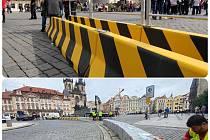 Praha nechala vyměnit černo-žluté citybloky za žulové kvádry na Staroměstském náměstí, kde jsou tyto protiteroristické zábrany od roku 2017..