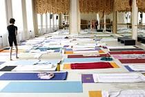 Přednáška s cvičením jógy se uskutečnila 5. července v budově AMU v Praze.