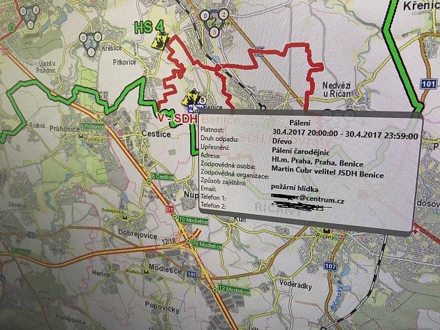 Mapa ohlášených pálení.
