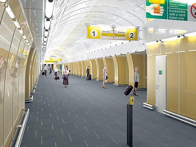 Vizualizace: stanice metra Národní třída v Praze ve zlatě. Samozřejmě v jisté nadsázce, ale barevně prý bude zlaté barvě odpovídat.
