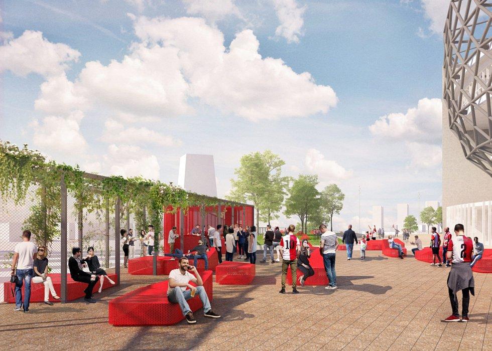 Cie s krajinářskou kanceláří LOLA doplněné o mladý brněnský ateliér m2au se prezentovalo plánem pro revitalizaci amsterdamské přístavní čtvrti NDSM nebo návrhem pro čtvrť Feyenoord City v Amsterdamu se stadionem (na snímku).