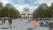 Vizualizace projektu revitalizace náměstí Jiřího z Poděbrad v Praze.