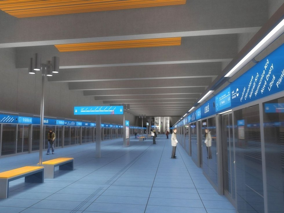 Návrh podoby stanice metra trasy D - Libuš.
