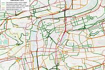 """Jak to vypadá s dopravním stresem v centru Prahy?  Asi vás nepřekvapí, že tmavě zelené linie končí na jeho okraji. Problémy ale budete mít i v případě, že nejste schopni zvládat """"oranžovou"""" obtížnost."""
