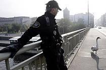 Strážníci museli 23. října v centru Prahy zachraňovat, která nejspíše při přeletu mostu narazila do troleje a poranila se.