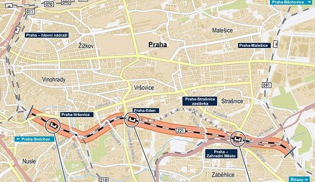 Mapka hostivařského koridoru.