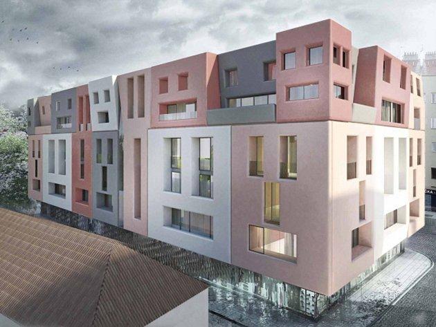 Projekt výstavby domu přezdívaného maršmeloun (na vizualizaci)