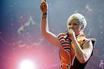 Funhouse. Pink předvedla vloni vysočanské aréně barevnou show.