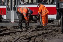 Rekonstrukce tramvajové tratě. Ilustrační foto.