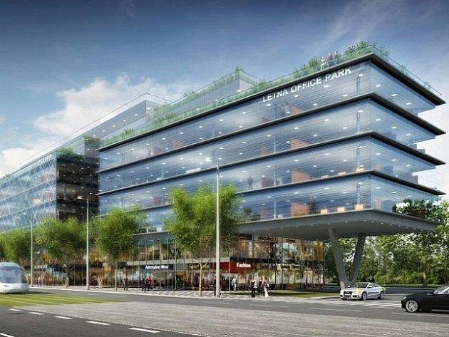 Vizualizace: moderní kancelářský komplex s názvem Letná Office Park.