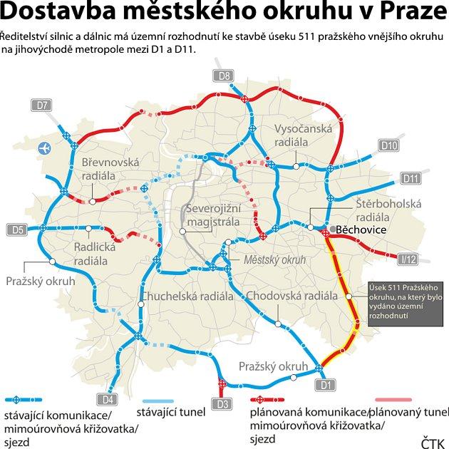 Mapa vtrasy vnějšího a vnitřního městského okruhu vPraze.