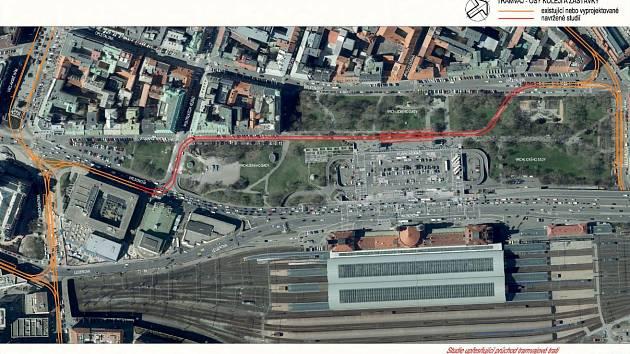 Studie tramvajové tratě kolem hlavního nádraží.