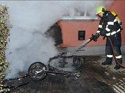 Požár motorky.