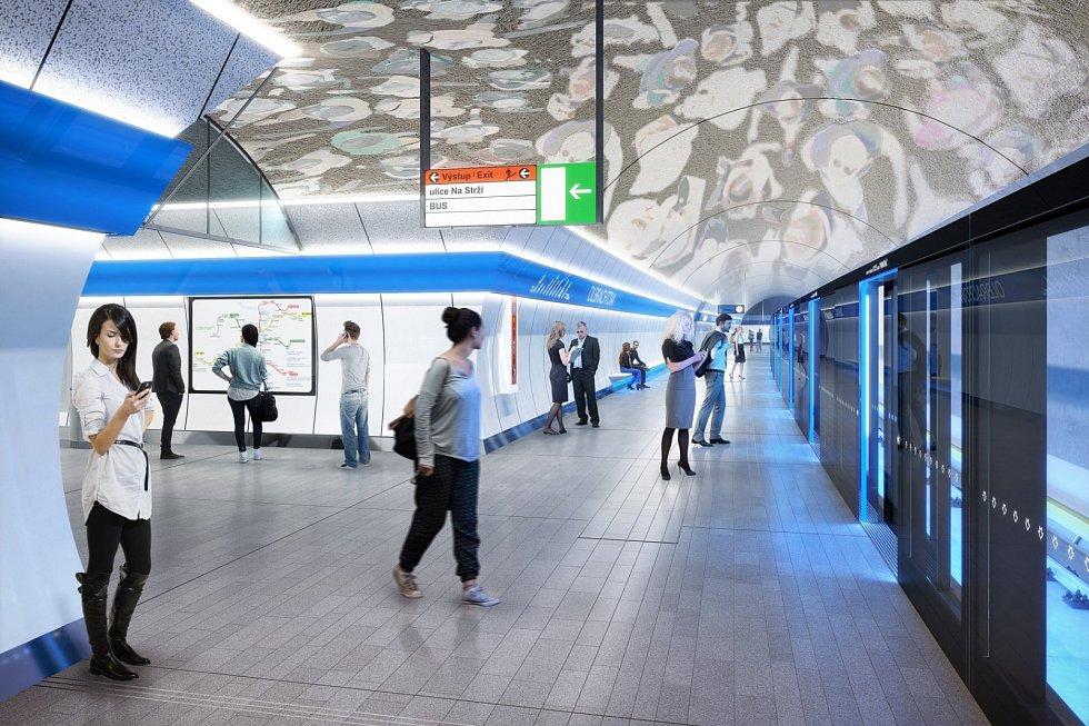 Praha představila nové návrhy stanic metra připravované linky D. Stanice Olbrachtova, umělecké ztvárnění Vladimír Kokolia.
