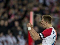 SK Slavia Praha - FC Vysočina Jihlava. Milan Škoda ze Slavie se raduje ze svého druhého gólu.