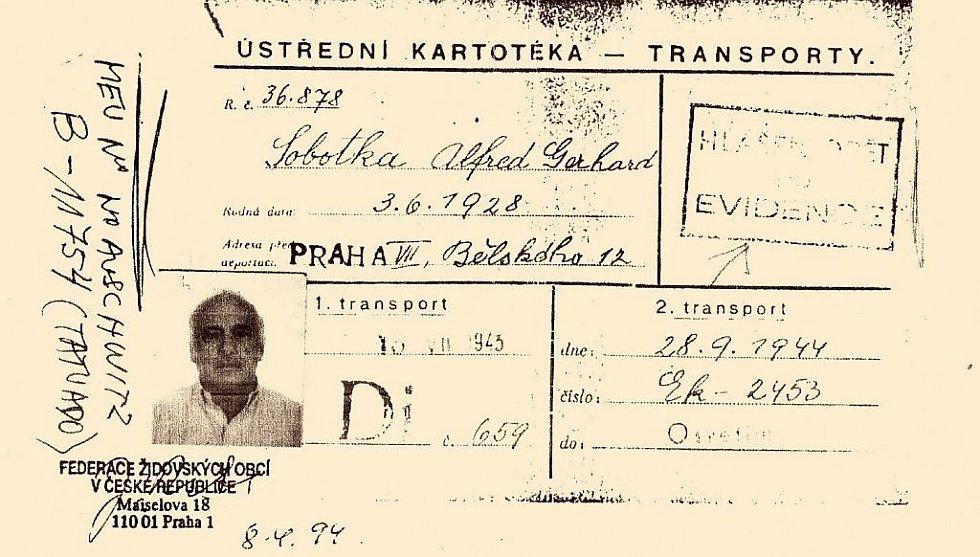 Výpis z kartotéky dokládající data transportů.
