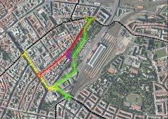 Varianty tras tramvají na Václavské náměstí.