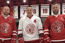 V dresu hokejové Slavie končí tři ikony - (zleva) Marek Tomica, Jan Novák a Jaroslav Bednář.