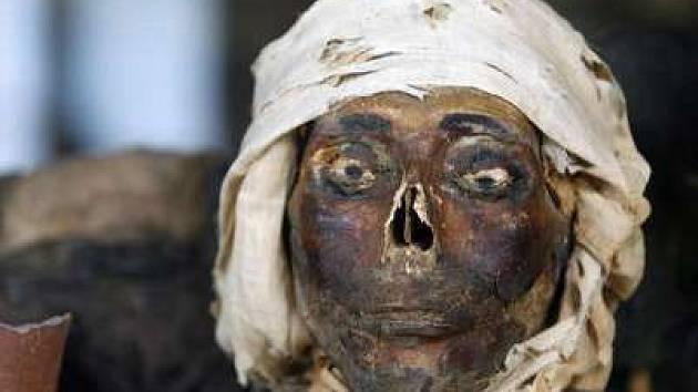 27. červen 2007, Praha; Hrdličkovo muzeum v Praze má ve své sbírce zajímavé exponáty. Mimo jiné ukázky hlav egyptských mumií.