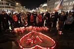 Čtvrté výročí úmrtí prezidenta Václava Havla. Václavské náměstí.
