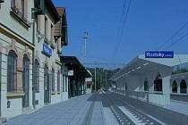 Železniční stanice Roztoky u Prahy. Vizualizace po modernizaci.