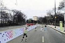 PROSTÉ ALE ÚČELNÉ. Bruslaři využijí původní povrch vozovky v Sokolovské ulici. Architekti oddělí tramvajovou trať od dráhy jednoduchou zábranou. Jako jediná in-line dráha nabídne ta karlínská měření rychlosti či množství spálených kalorií.