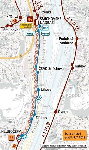 Schema výluky mezi stanicemi Nádraží Smíchov a Hlubočepy.