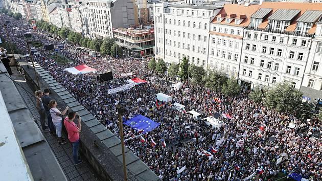 Demonstrace za demisi Andreje Babiše a Marie Benešové na Václavském náměstí 4. června 2019.