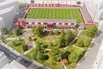 Náhled stadionu a jeho okolí, který má v plánu majitel fotbalového klubu Martin Louda v příštích letech vybudovat.