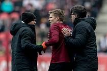 Zápas 28. kola Fortuna ligy mezi Sparta Praha a Slavia Praha, hraný 14. dubna v Praze v Sinobo stadium. Martin Frýdek