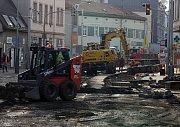 Rekonstrukce tramvajové trati v Zenklově ulici.